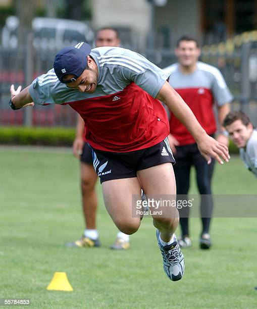 All Black Ben Atiga in action during team training at Melbourne Grammar as the team prepare for their Rugby World Cup 2003 Pool D match against Wales