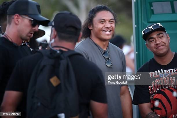 All Black Caleb Clarke waits for Six60 perform at the Waitangi sports grounds on January 16, 2021 in Waitangi, New Zealand. The event is the largest...