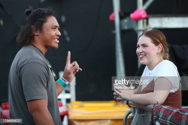 All Black Caleb Clarke waits for Six60 to perform at the Waitangi sports grounds on January 16, 2021 in Waitangi, New Zealand. The event is the...
