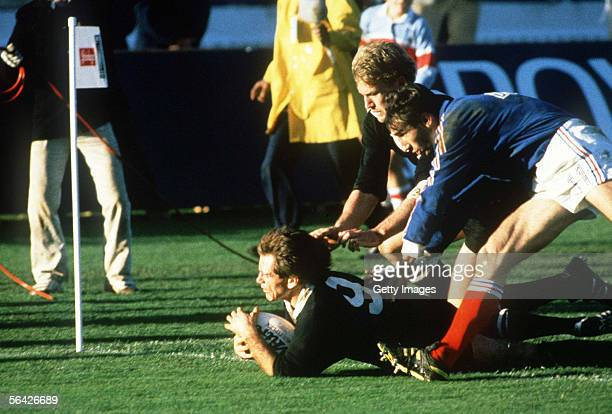 All Black captain David Kirk goes over for a try during the Rugby World Cup Final between New Xealand and France held at Eden Park June 20 1987 in...