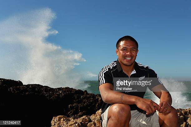 All Black captain Keven Mealamu poses on the beach following the New Zealand All Blacks Training Session at Xerox Arena on August 16, 2011 in Port...