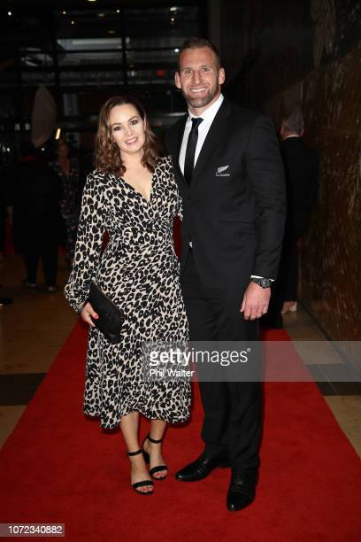 All Black captain Kieran Read and his wife Bridget Read pose on the red carpet during the 2018 ASB Rugby Awards at SkyCity Convention Centre on...