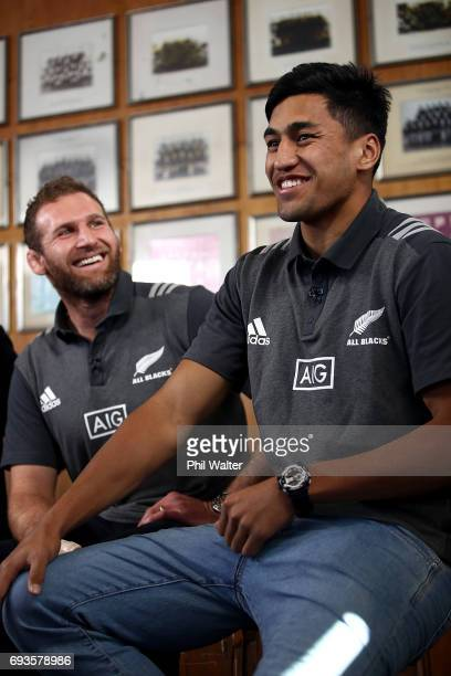 All Black captain Kieran Read and Rieko Ioane speak to the media during the All Blacks Maori All Blacks New Zealand Lions Series Squads Announcement...
