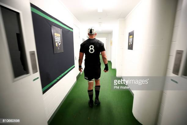 All Black captain Kieran Read heads back to the dressing room following the drawn Test match between the New Zealand All Blacks and the British Irish...
