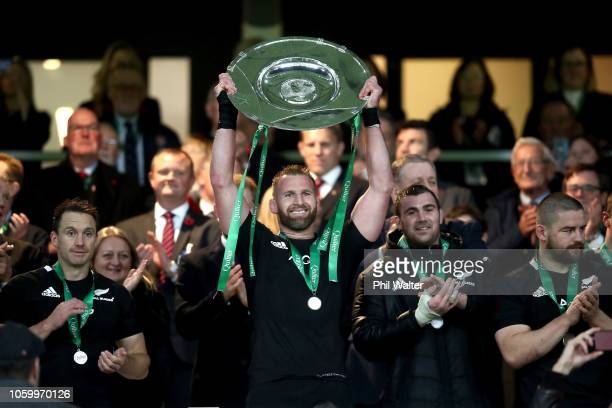 All Black captain Kieran Read is presented with the Hillary Shield following the Quilter International match between England and New Zealand at...