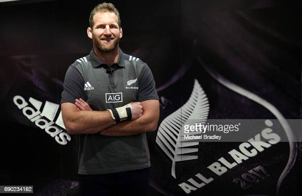 All Black captain Kieran Read poses during the New Zealand All Blacks adidas jersey launch at adidas Newmarket Store on May 31 2017 in Auckland New...
