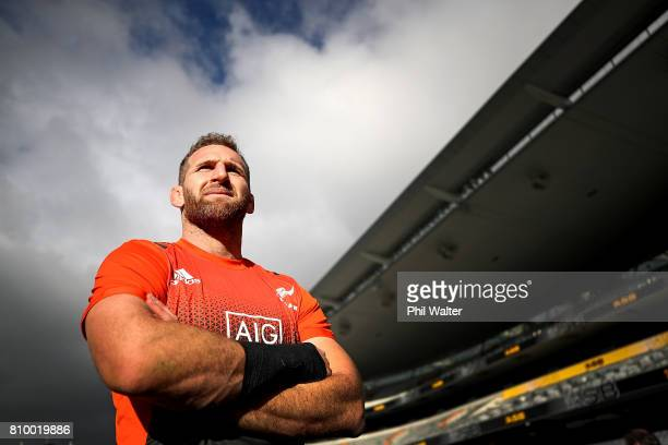All Black captain Kieran Read poses for a portrait during the New Zealand All Blacks Captains Run at Eden Park on July 7 2017 in Auckland New Zealand