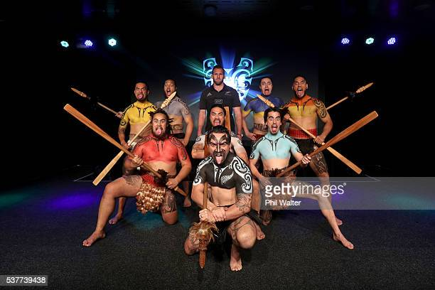 All Black captain Kieran Read poses on stage with Maori Warriors representing each of the regions hosting the Lions during the One Year to Go event...