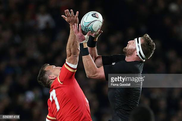 All Black captain Kieran Read takes a high ball from Wales captain Sam Warburton during the International Test match between the New Zealand All...
