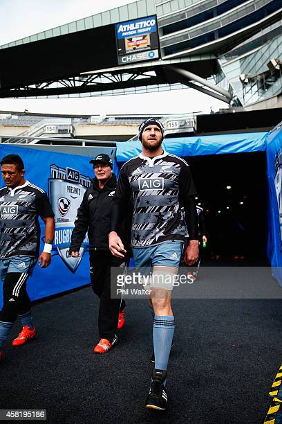 All Black Captain Kieran Read walks out for the New Zealand All Blacks Captain's run at Soldier Field on October 31, 2014 in Chicago, Illinois.