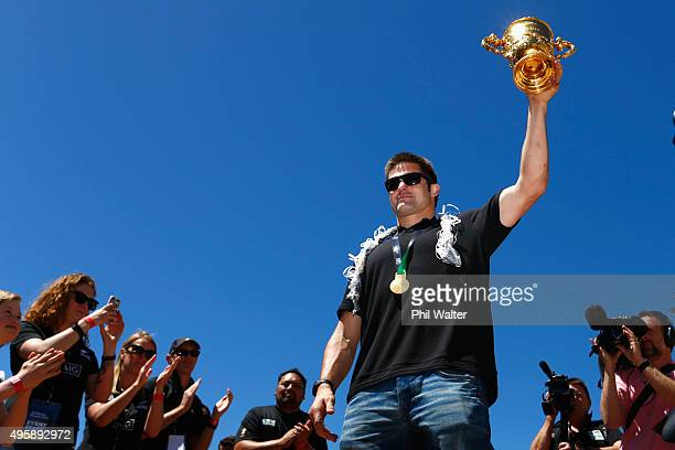 All Black captain Richie McCaw holds up the Webb Ellis Cup during the New Zealand All Blacks Welcome Home celebrations in Civic Square on November 6...