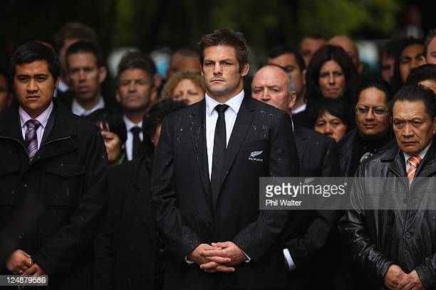 All Black captain Richie McCaw leads the team on the Marae during a New Zealand All Blacks IRB Rugby World Cup 2011 welcome ceremony at Turangawaewae...