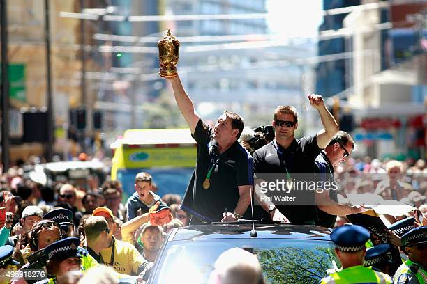 All Black captain Richie McCaw, Steve Hansen and Ian Foster parade with the Webb Ellis Cup during the New Zealand All Blacks Welcome Home celebration...