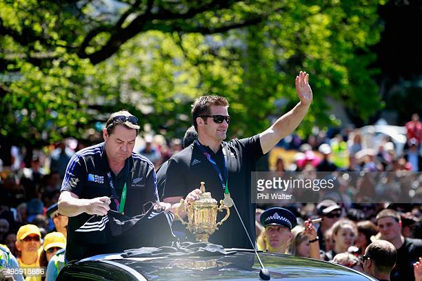 All Black captain Richie McCaw Steve Hansen and Ian Foster parade with the Webb Ellis Cup during the New Zealand All Blacks Welcome Home celebration...