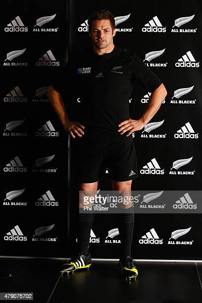 All Black captain Richie McCaw wears the 2015 Rugby World Cup jersey during the New Zealand All Blacks Rugby World Cup jersey launch at The Northern...