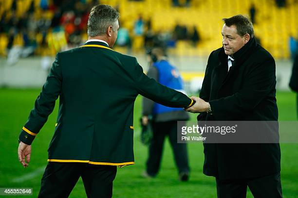 All Black coac Steve Hansen shakes the hand of Springbok coach Heyneke Meyer during The Rugby Championship match between the New Zealand All Blacks...