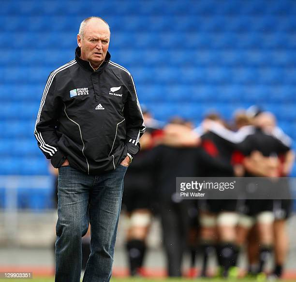 All Black coach Graham Henry during a New Zealand All Blacks captain's run at Trusts Stadium on October 22, 2011 in Auckland, New Zealand.