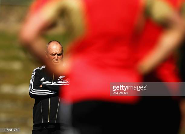 All Black coach Graham Henry looks on during a New Zealand All Blacks IRB Rugby World Cup 2011 training session at Rugby League Park on September 27,...