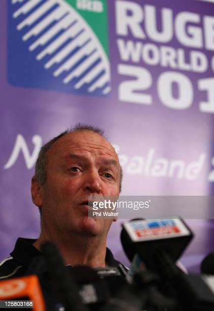 All Black coach Graham Henry speaks to the media during a New Zealand All Blacks IRB Rugby World Cup 2011 media session at The Heritage Hotel on...