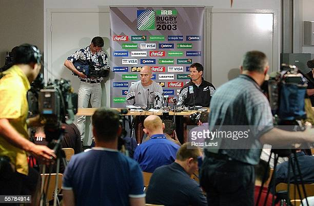 All Black coach John Mitchell and coaching coordinator Robbie Deans at the team naming at the Melbourne Sports and Aquatic Centre New Zealand are...