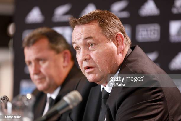 All Black coach Steve Hansen and assistant coach Ian Foster during the All Blacks Rugby Championship Squad Announcement at Ponsonby Rugby Club on...