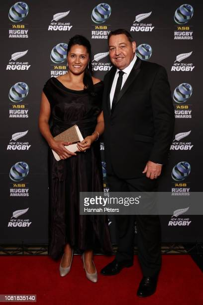 All Black coach Steve Hansen and his wife Tash Hansen pose on the red carpet during the 2018 ASB Rugby Awards at SkyCity Convention Centre on...