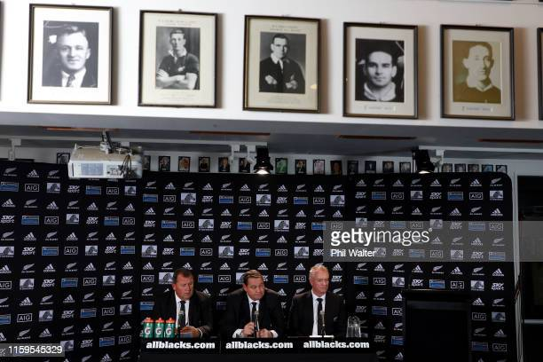 All Black coach Steve Hansen assistant coach Ian Foster and selector Grant Fox during the All Blacks Rugby Championship Squad Announcement at...