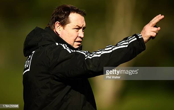 All Black coach Steve Hansen during a New Zealand All Blacks training session at Porirua Park on August 13, 2013 in Wellington, New Zealand.