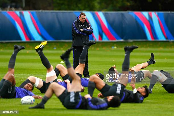 All Black coach Steve Hansen during a New Zealand All Blacks training session at Lensbury on September 16, 2015 in London, United Kingdom.