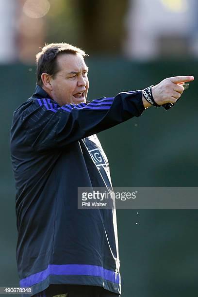 All Black coach Steve Hansen during a New Zealand All Blacks Training Session at Sophia Gardens on September 30, 2015 in Cardiff, United Kingdom.