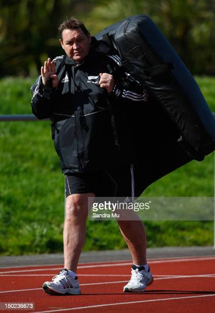 All Black Coach Steve Hansen packs up after a New Zealand All Blacks training session at Trusts Stadium on August 13, 2012 in Auckland, New Zealand.