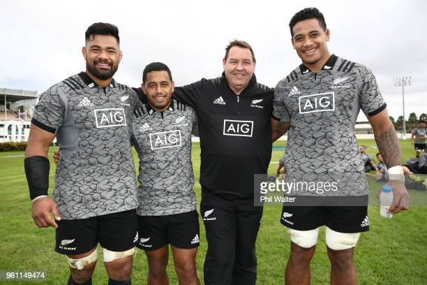 All Black coach Steve Hansen poses with the new caps Jordan Taufua Te Toiroa Tahuriorangi and Shannon Frizell during a New Zealand All Blacks...