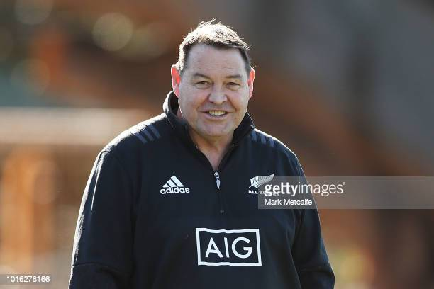 All Black coach Steve Hansen smiles during a New Zealand All Blacks training session at North Sydney Oval on August 14, 2018 in Sydney, Australia.