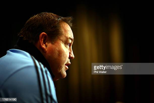 All Black coach Steve Hansen speaks during a New Zealand All Blacks media session at the Intercontinental Hotel on August 15 2013 in Wellington New...