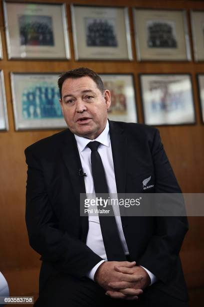 All Black coach Steve Hansen speaks to the media during the All Blacks Maori All Blacks New Zealand Lions Series Squads Announcement at Butler Hall...