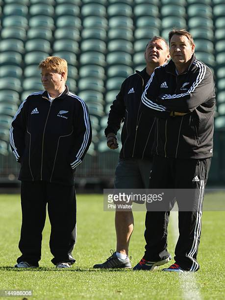 All Black coach Steve Hansen stands with Assistant Coach Ian Foster and defence coach Brian McLean during a New Zealand All Blacks training camp...
