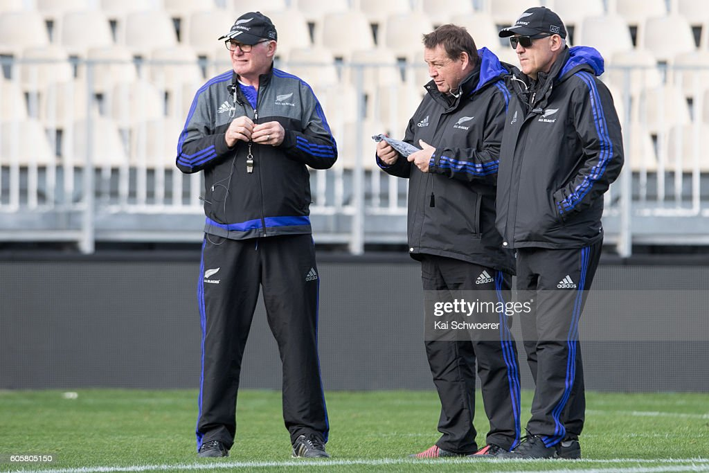 All black coaching staff Mike Cron, Steve Hansen and Gilbert Enoka (L-R) look on during a New Zealand All Blacks training session on September 15, 2016 in Christchurch, New Zealand.