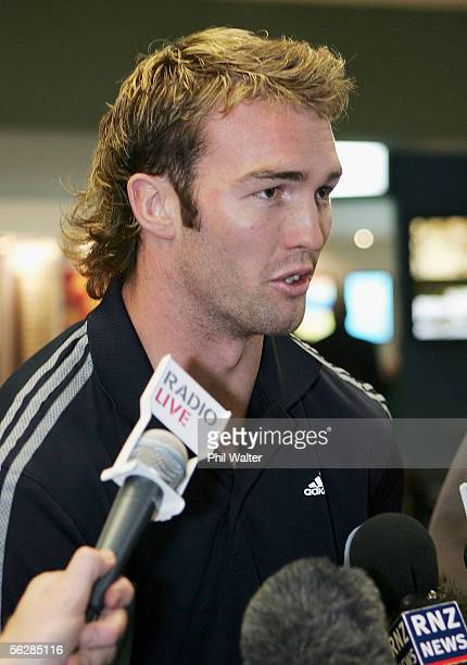 All Black debutant Jason Eaton arrives home from the All Black's end of year tour to the UK at the Auckland International Airport November 29 2005 in...