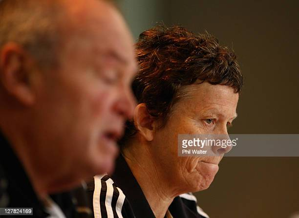 All Black Doctor Deb Robinson and Coach Graham Henry speak during a New Zealand All Blacks IRB Rugby World Cup 2011 Press Conference to announce Dan...