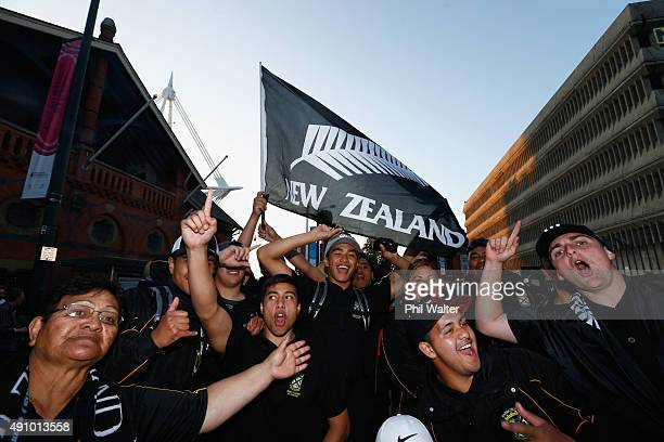 All Black fans arrive for the 2015 Rugby World Cup Pool C match between New Zealand and Georgia at Millennium Stadium on October 2, 2015 in Cardiff,...