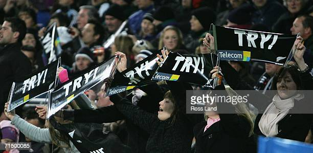 All Black fans celebrate a try during the TriNations rugby test played between the New Zealand All Blacks and the South African Springboks at Westpac...