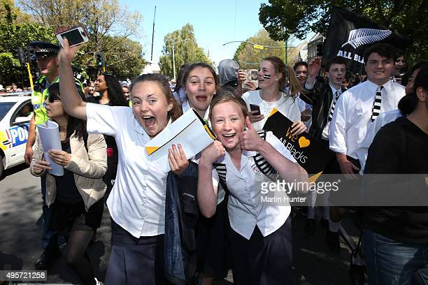 All Black fans show their support during New Zealand All Blacks welcome home celebrations at Hagley Park on November 5 2015 in Christchurch New...