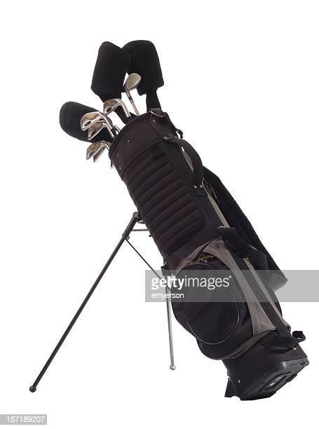 All black golf bag with golf clubs inside
