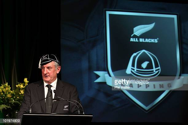 All Black Graham Mourie speaks during the New Zealand All Blacks Test Capping Ceremony at the Theatre Royal on June 11 2010 in New Plymouth New...