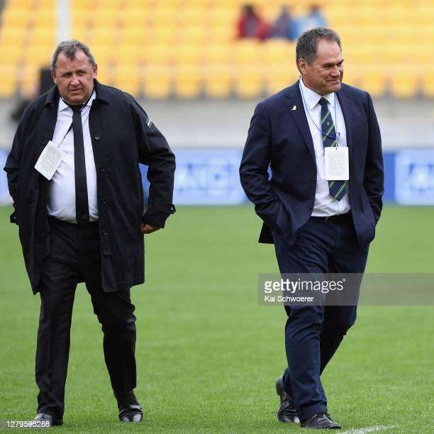 All Black Head Coach Ian Foster and Wallabies Head Coach Dave Rennie look on prior to the Bledisloe Cup match between the New Zealand All Blacks and...