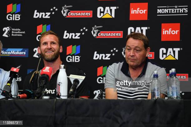 All Black Head Coach Steve Hansen reacts as Kieran Read of the Crusaders speaks to media at Rugby Park on March 06 2019 in Christchurch New Zealand...