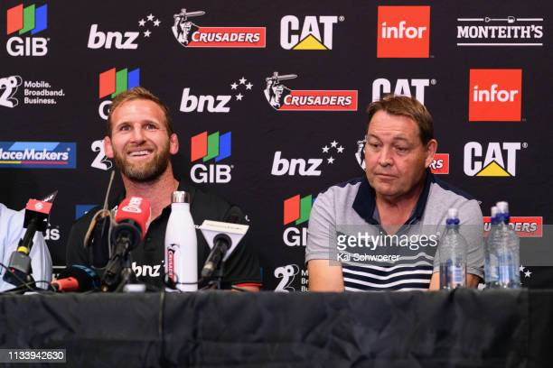 All Black Head Coach Steve Hansen reacts as Kieran Read of the Crusaders speaks to media at Rugby Park on March 06, 2019 in Christchurch, New...