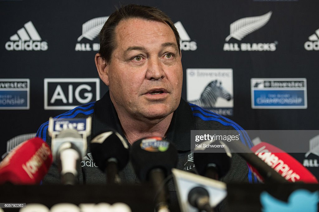 All Black Head Coach Steve Hansen speaks to the media during a New Zealand All Blacks press conference on September 15, 2016 in Christchurch, New Zealand.