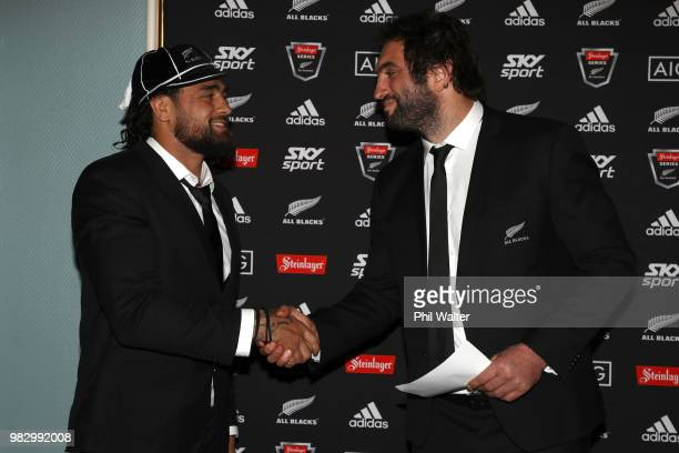 All Black Jackson Hemopo is presented with his test cap from Sam Whitelock following the International Test match between the New Zealand All Blacks...