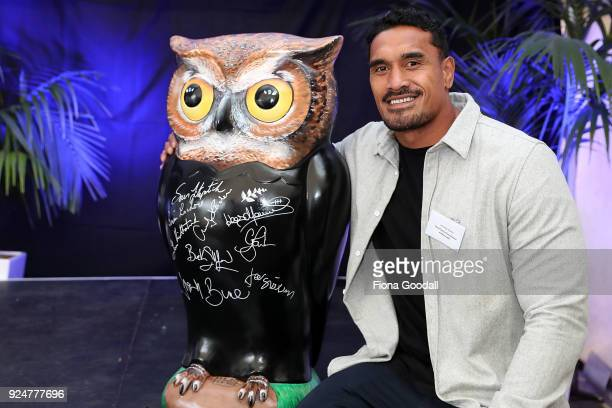 All Black Jerome Kaino with an Owlet signed by rugby players during Big Hoot VIP Owl Reveal on February 27 2018 in Auckland New Zealand